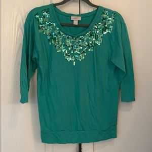 Loft three-quarter inch sleeved sequin top